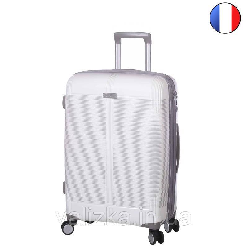 Средний пластиковый чемодан из полипропилена белый  с расширителем Snowball Франция