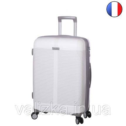Средний пластиковый чемодан из полипропилена белый  с расширителем Snowball Франция, фото 2
