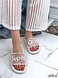 Женские шлепанцы шлепки Super Girl, резиновые, верх прозрачный матовый с надписью, фото 10