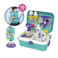 """Детский игровой набор """"Парикмахерская для животных"""", в чемоданчике с собачкой scn"""