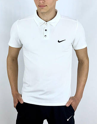 Футболка Поло белая + Шорты + Барсетка в стиле Nike (Найк) Костюм летний, фото 2
