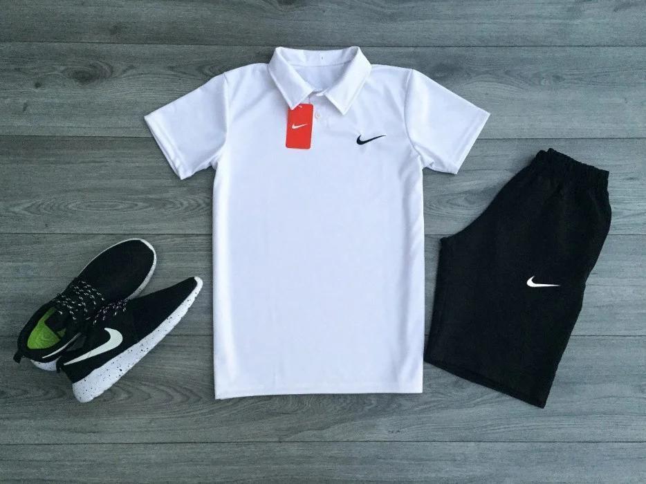 Футболка Поло белая + Шорты + Барсетка в стиле Nike (Найк) Костюм летний