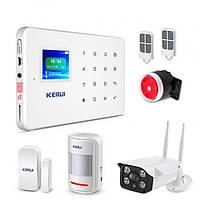 Охранный комплект GSM сигнализации KERUI G-18 + IP WI-FI камера наружная YYHDGGBDF78FDHYF, КОД: 1632105