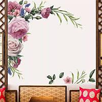 """Наклейка на стену, окна, зеркала, шкафы """"пионы розы"""" 95см*120см (лист 60*90см)"""
