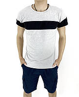 Комплект Футболка Intruder Color Stripe шорты Miami L Темно-синий с серым Kom 1589370633  3, КОД: 1720912