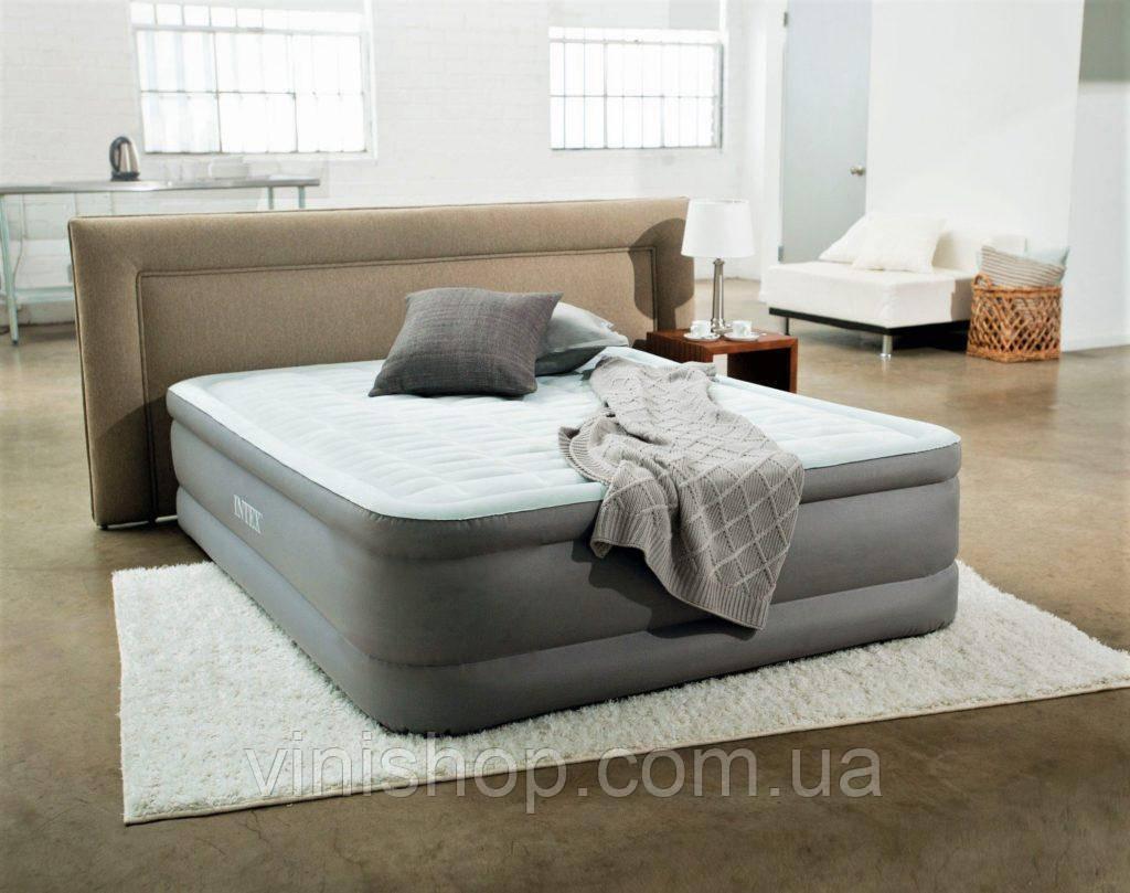Надувная кровать со встроенным электронасосом Intex 64926 (203*152*46 см), двухспальная