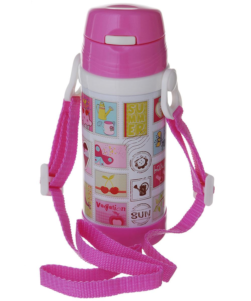 Дитячий термос с трубочкою A-PLUS 320 мл рожевий