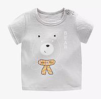 Детская футболка с короткими рукавами из хлопка Милый Мишка (размеры 1-4 года)