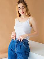 Белая повседневная женская майка под джинсы 42,44,46