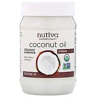 """Кокосовое масло Nutiva """"Coconut Oil Virgin"""" холодного отжима (444 мл)"""