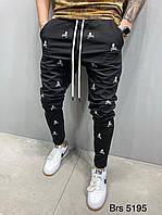 Мужские чёрные спортивные штаны зауженные с черепами узкие чёрные мужские спортивные штаны М, L размер