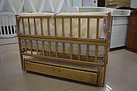 Дитяче ліжко-колиска на шарнірах з дуба (+шухляда), колір - горіх
