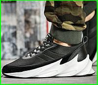 Кроссовки Adidas Мужские Адидас Чёрные с Белым (размеры: 42,43,44) Видео Обзор