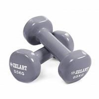 Гантели для фитнеса с виниловым покрытием Zelart Beauty TA-5225-0,5 2шт x 0,5кг Серый