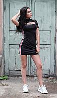 Жіноче облягаюче плаття, під горло з лампасами, фото 1