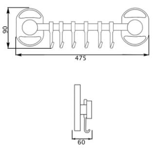 Potato P2914-6 держатель полотенец 6 крючков, фото 2