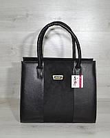 Женская сумка Бочонок черного цвета с замшевой вставкой, фото 1