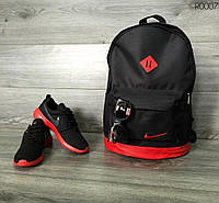 Рюкзак городской мужской | женский, для ноутбука Nike (Найк) черный-красный спортивный