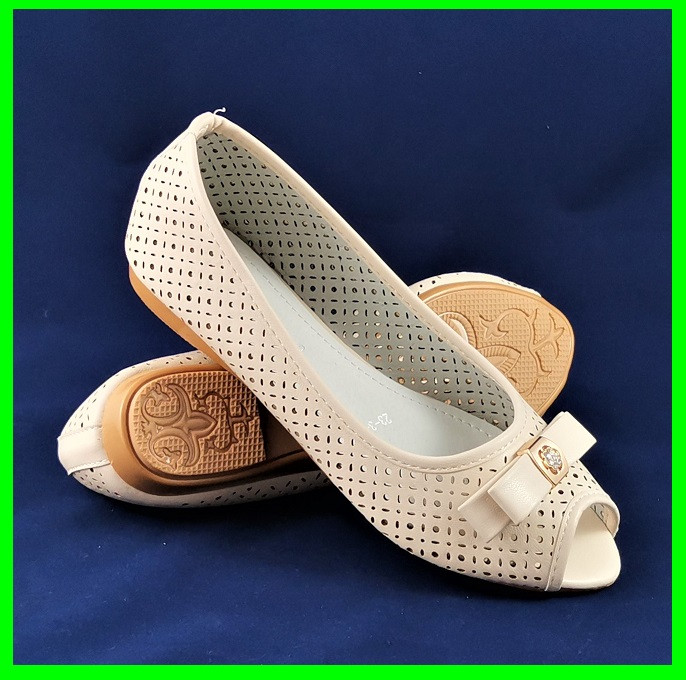 Женские Балетки Летние Бежевые Мокасины Туфли Открытый Носик (размеры: 36,37,38,39,40)