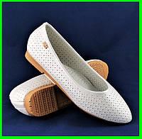 Женские Балетки Летние Белые Перламутр Мокасины Туфли (размеры: 36,37,38,39,40), фото 1
