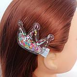 Заколка для волос Корона Ягодка с прозрачным патчем с пайетками и бусинками пересыпающиеся, фото 4