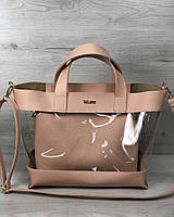 2в1 Молодежная сумка Амира пудрового цвета, фото 1