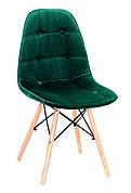 Стул в скандинавском стиле на буковых ножках Alex бархат  зеленый  В-5
