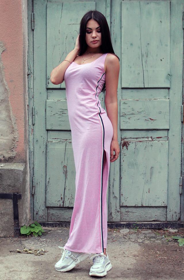Женское спортивное платье в пол с разрезами по бокам