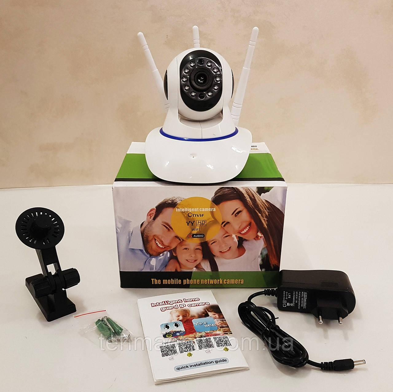 Камера відеоспостереження поворотна Wi-Fi IP 360° на 3 антени з мікрофоном / Нічна зйомка / Датчик руху