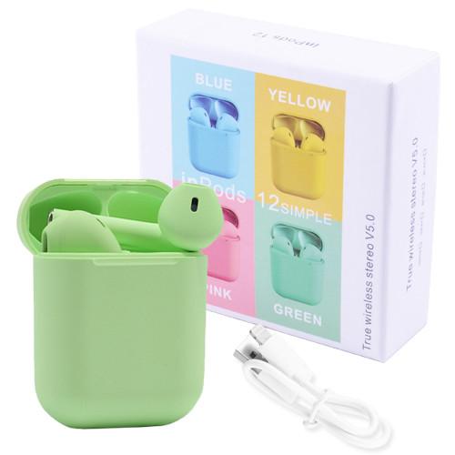 Беспроводные наушники i12 Inpods 5.0 Bluetooth сенсорные с магнитным кейсом (Зеленый)