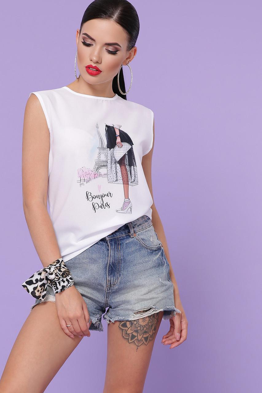 Белая летняя женская футболка без рукавов Киви б/р