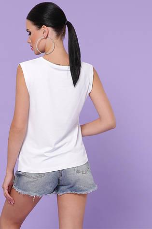 Белая летняя женская футболка без рукавов Киви б/р, фото 2