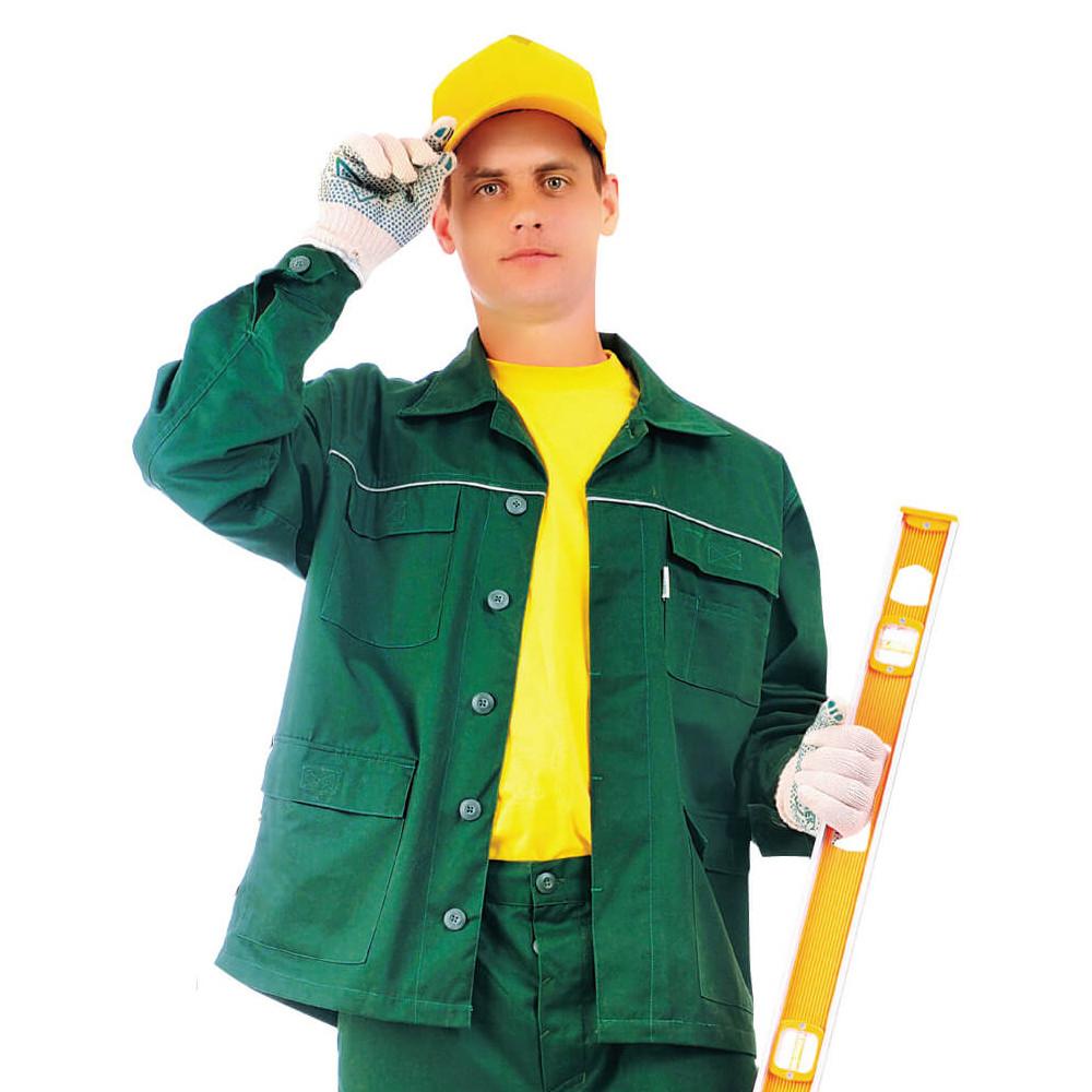 Куртка ЛІДЕР, тк.Zibo (65%п/е+35%х/б), т. зелений