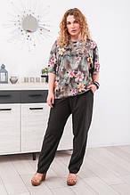 Комплект женский размер плюс блузка с брюками  Токио 6 цветов (52-66)