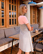 Платье мини короткое женское микродайвинг серое с розовым, фото 3