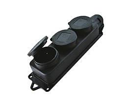Розетка каучуковая тройная с заземлением и защитной крышкой переносная RUBBER IP44 TechnoSystems TNSy5000077