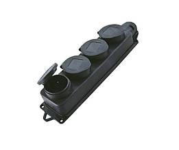 Розетка каучуковая четверная с заземлением и защитной крышкой переносная RUBBER IP44 TechnoSystems TNSy5000078