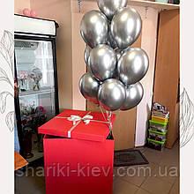 Коробка сюрприз с букетом шаров  Красная