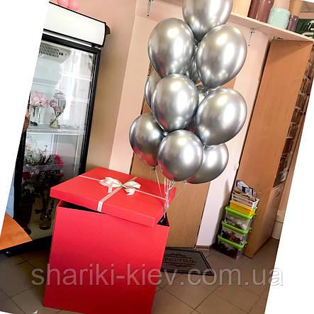 Коробка сюрприз с букетом шаров  Красная, фото 2