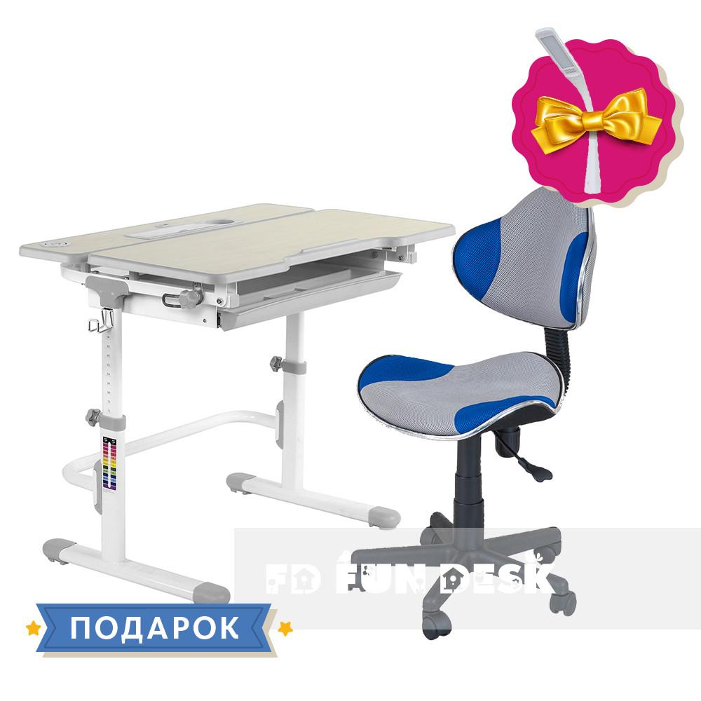 Комплект растущая парта для дома FunDesk Lavoro L Grey+детское кресло FunDesk LST3 Blue-Grey