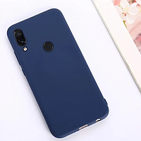 Матовый силиконовый чехол на Xiaomi Redmi Note 7 ( темно-синий )