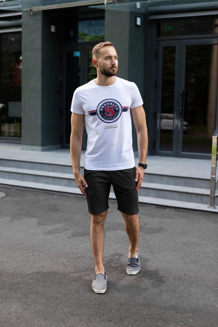 Футболка+шорты мужской комплект на лето. Стильный костюм для мужчин шорты+футболка.