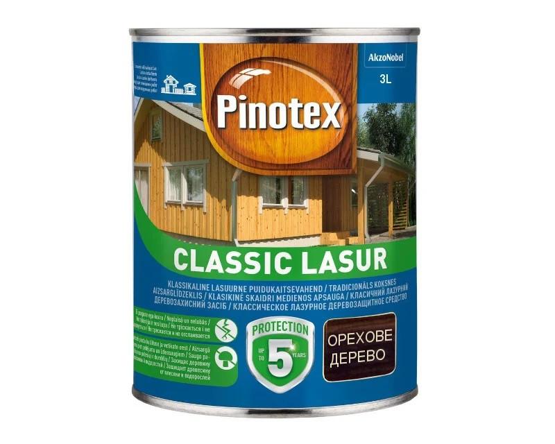 Лазурь-лак антисептический PINOTEX CLASSIC LASUR для древесины матовый ореховое дерево 3л