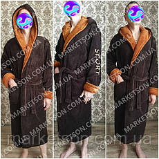 Халат махровый подростоковый с капюшоном 36-38-40-42-44-46, фото 2