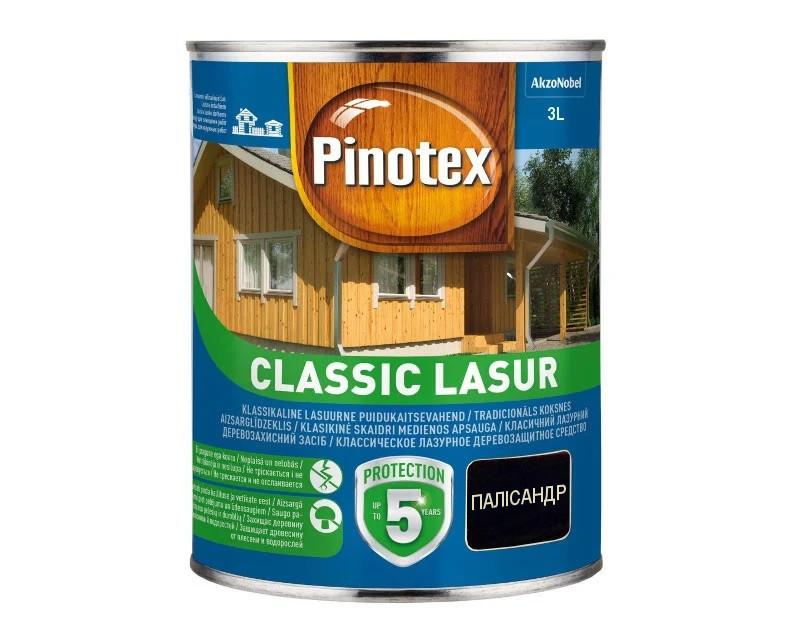 Лазурь-лак антисептический PINOTEX CLASSIC LASUR для древесины палисандр 3л