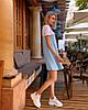 Платье мини короткое женское микродайвинг желто белое, фото 4