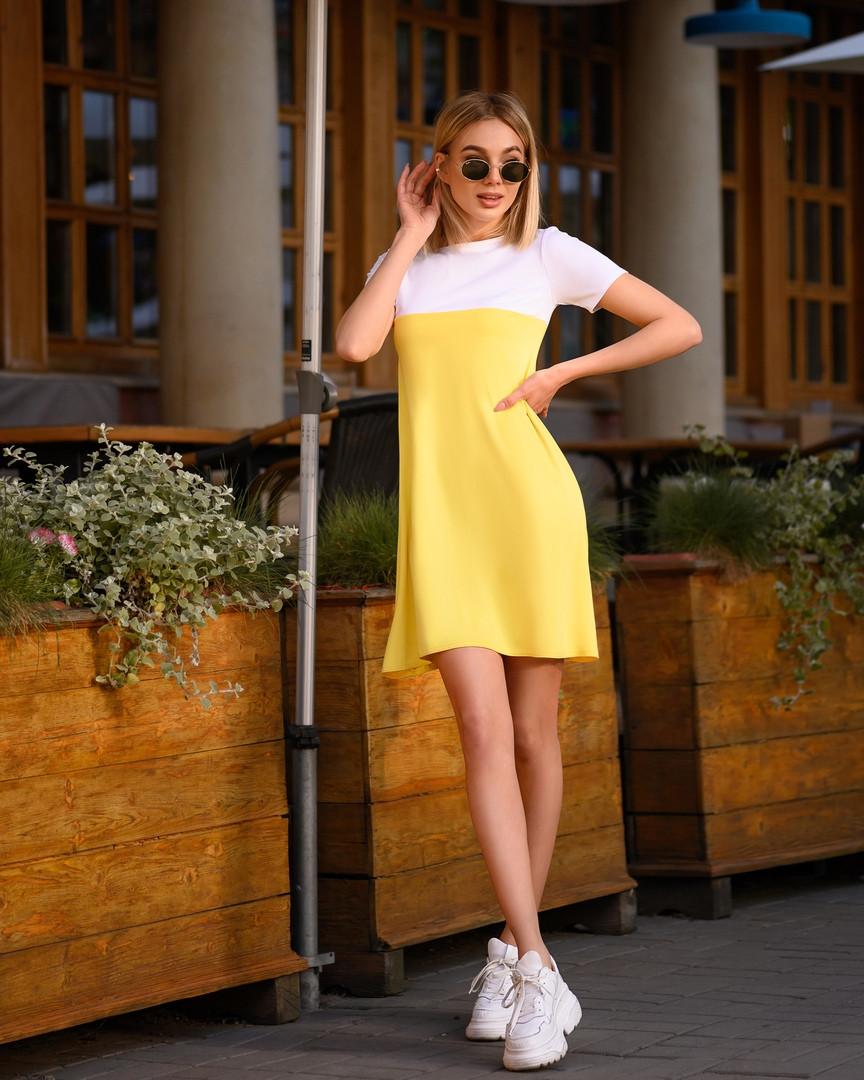 Платье мини короткое женское микродайвинг желто белое