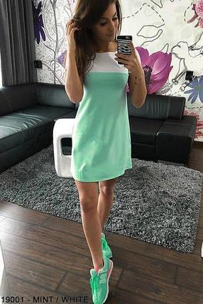 Платье мини короткое женское микродайвинг зеленое с белым, фото 2