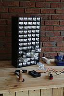 Органайзер К60 чёрный, кассетница, сортовик, ящик, ячейка для мелочей, деталей, метизов, бисера, фото 1