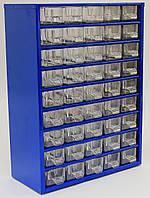 Органайзер К45 синий, кассетница, сортовик, ящик, ячейка для мелочей, деталей, метизов, бисера, фото 1